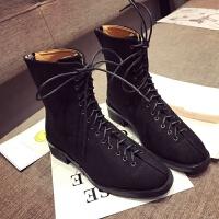 2019秋冬韩版时尚百搭系带平底短靴子马丁靴女鞋子潮加绒棉鞋