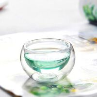 HEISOU 耐热功夫茶具配件 透明双层隔热手工玻璃小花茶杯子 4个装 CF-37     1404