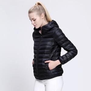 坦博尔轻薄款羽绒服女士反季秋冬季新简约带帽短款羽绒外套TD3262