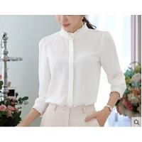 白衬衫宽松职业女装韩范上衣雪纺衫长袖韩版立领打底衬衣  可礼品卡支付