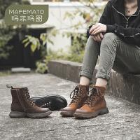 玛菲玛图马丁靴女英伦风2020新款夏季透气牛皮工装厚底高帮靴帅气机车短靴811392-5