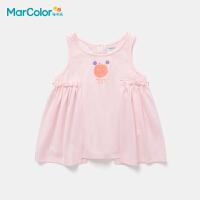 马卡乐童装2021年夏新款女童全棉柔软图案干爽透气背心裙