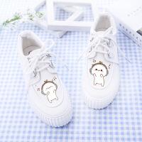 帆布鞋 女式春夏季韩版涂鸦厚底小白鞋运动休闲鞋女士系带时尚潮流学生女鞋子布鞋.