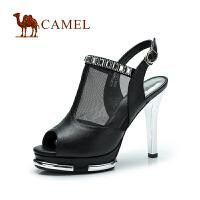CAMEL 骆驼 防水台水钻新款凉鞋 时尚性感鱼嘴羊皮网纱 高跟女鞋