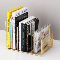 桌上书架宿舍铁艺置物架金属桌面收纳简易办公室小型杂志整理架子