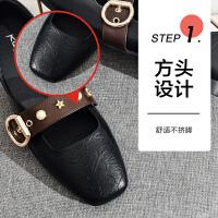 19珂卡芙秋新款【显白】时尚粗一字带女鞋浅口方头百搭女单鞋