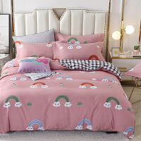 被窝窝 床上用品单双人羊绒棉AB版床单 被罩 枕套 三件套 四件套
