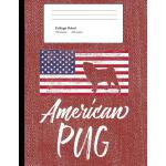 预订 American Pug: Red Denim Look Composition Journal Noteboo