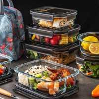 玻璃保鲜盒微波炉加热饭盒上班族便当盒带盖分隔型餐盒专用碗密封