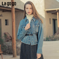 Lagogo2019年秋季新款字母印花牛仔长袖外套女休闲韩版ICWW517C43