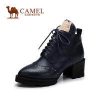 Camel骆驼女靴 英伦中性靴 秋冬款小圆头牛皮系带粗跟靴