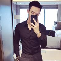 衬衫男学生新款白衬衫男长袖韩版修身潮流休闲青年商务帅气男士纯色衬衣
