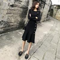 欧洲站2018新款早秋装女装长袖针织chic裙子韩版鱼尾初秋季连衣裙 黑色针织连衣裙