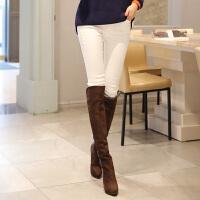 白色加绒牛仔裤女冬季紧身显瘦高腰长裤铅笔裤子潮弹力韩版小脚裤