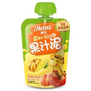 亨氏 Heinz果汁泥乐维滋果汁泥-苹果蜜桃玉米南瓜果汁泥(1-3岁)120g/袋 宝宝辅食