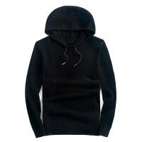 羊毛卫衣男长袖连帽秋冬纯色针织套头毛衣男士羊毛衫 黑色 黑色