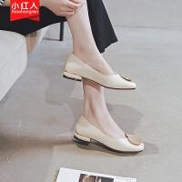 【活动中】小红人浅口单鞋女2019夏款百搭方头奶奶鞋子粗跟一脚蹬女鞋复古潮 PU