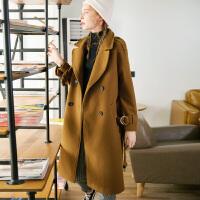 【2件2.5折】唐狮冬装新款毛呢外套女风衣式韩版简约中长款腰带羊毛大衣女