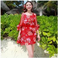 雪纺显瘦上衣海边度海滩裙女马尔代夫夏假沙滩裙波西米亚短裙长袖 可礼品卡支付