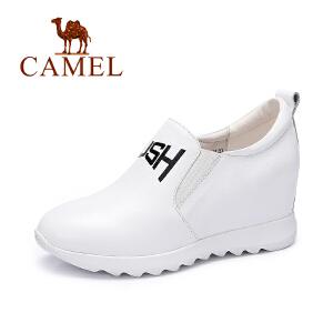 Camel/骆驼女鞋 新款 单鞋简约字母休闲内增高秋鞋