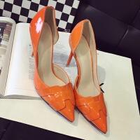 2017字侧空单根女鞋橙色漆皮尖头高跟鞋细跟浅口女单鞋