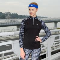 361度女装秋季女子立领长运动跑步长袖拼接T恤
