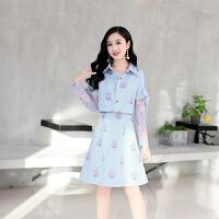 新款韩版时尚两件套旗袍裙蕾丝印花修身显瘦长袖连衣裙