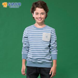 秋装新款中大童运动彩条儿童圆领套头卫衣