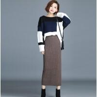 秋冬新款羊绒针织半身裙子开叉包臀复古高腰修身羊绒毛线长裙加厚 3X