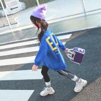 女童卫衣2018新款韩版秋装男女童宽松中长款上衣中大儿童洋气卫衣A1114