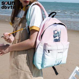 【支持礼品卡支付】soundbyte韩版中学生书包学院风粉色渐变印花休闲书包