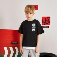 【折后�B券�A估�r:32】361度男童短袖��衫2021年夏季N52023204