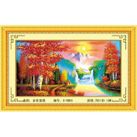 丝带绣 家居装饰 挂画系列 金色富锦彩印丝带印花十字绣客厅大画c-0085