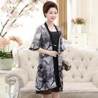 妈妈装夏季时尚连衣裙女40-50岁中老年夏装两件套装裙子时髦衣服 灰色