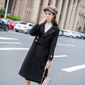 朴衣尚 冬季好款呢子大衣女中长款2018新款冬季厚赫本风毛呢女外套