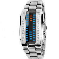 新品多功能LED电子表潮学生 镜面链条钢带金属防水时尚情侣手表 可礼品卡支付