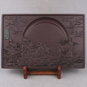 中国非物质文化遗产传承人群 钟景锐作品《八仙过海》砚 宋坑