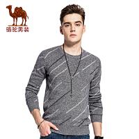 骆驼男装 秋季新款圆领修身 套头男士毛衣时尚男上衣