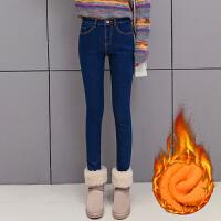 韩版春款牛仔裤女高腰冬季小脚外穿加厚保暖2017新款弹力修身长裤