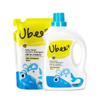 幼蓓Ubee 婴儿衣物清洗剂组合装1L瓶装+800ml袋装新生儿宝宝洗衣液