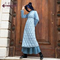 生活在左2019秋冬女装新款浅海蓝长款双面呢拼接羽绒服外套大衣女