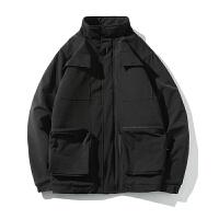 2018冬季新款短款棉衣工装男士加肥大码胖子外套韩版潮流男装长款外套连帽加大假两