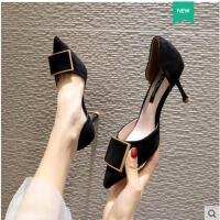 鞋子女百搭潮款鞋单鞋高跟春款尖头金属方扣中空韩版细跟仙女鞋