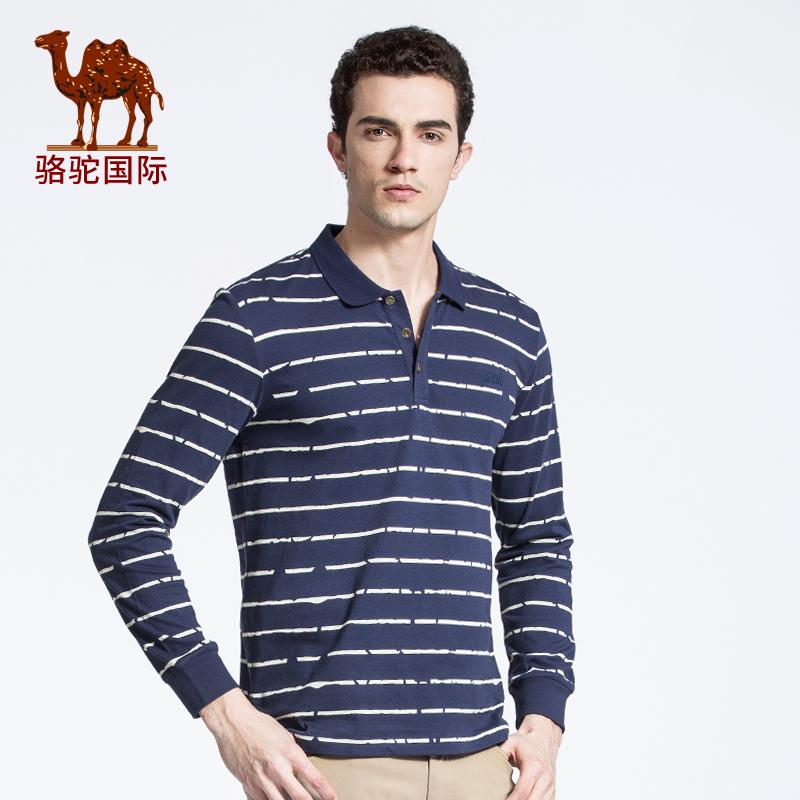骆驼牌男装 新款时尚纯棉翻领长袖条纹T恤衫男士Polo衫