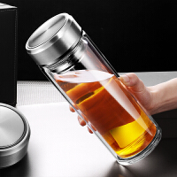 男隔热耐热保温透明水杯加厚泡茶杯子大容量1000ML双层玻璃杯