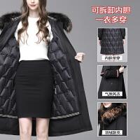 雅鹿派克羽绒服女士长款修身冬季新款加厚可拆卸内胆貉子毛领外套