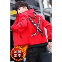 加绒夹克男外套韩版新款男学生帅气棉外套街头男装保暖外套时尚潮牌修身青年褂子上衣