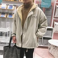 情侣款男士冬季羊羔绒外套棉袄韩版潮流加厚棉衣工装短款衣服外套通款流网面包日系冬天可拆卸overs