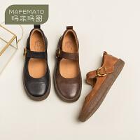 玛菲玛图玛丽珍鞋女2020新款春季原宿女鞋复古一字扣平底浅口单鞋小皮鞋女3782-50SH