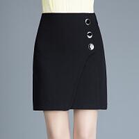 包臀裙女短裙针织半身裙2018春季新款弹力腰包裙修身一步裙裙子冬 黑色 20腰围/M 腰围二尺